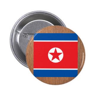 Bandera retra de Corea del Norte Chapa Redonda 5 Cm