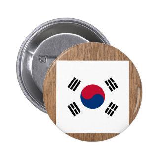 Bandera retra de la Corea del Sur Chapa Redonda 5 Cm