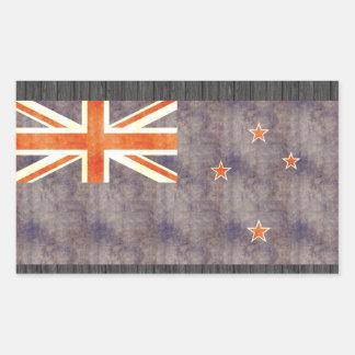 Bandera retra de Nueva Zelanda del vintage Pegatina Rectangular
