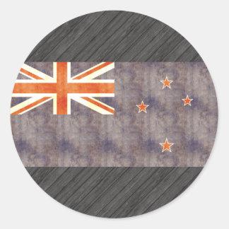 Bandera retra de Nueva Zelanda del vintage Pegatina Redonda