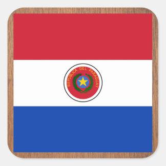 Bandera retra de Paraguay Pegatina Cuadrada