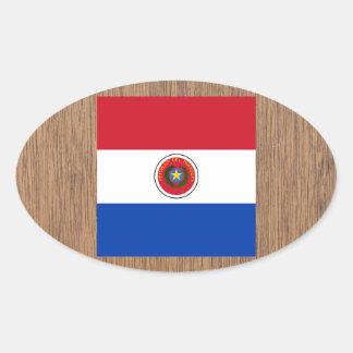 Bandera retra de Paraguay Pegatina Ovalada