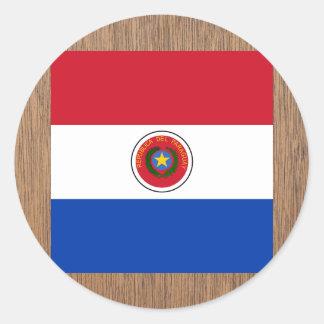 Bandera retra de Paraguay Pegatina Redonda