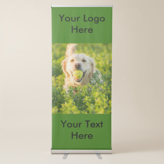 Bandera retractable vertical con golden retriever pancarta retráctil
