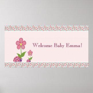 Bandera rosada de la fiesta de bienvenida al bebé  póster