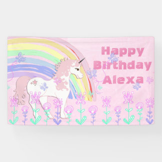 Bandera rosada personalizada del cumpleaños del lona