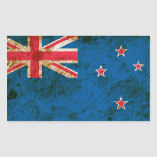 Bandera rugosa de Nueva Zelanda Pegatina Rectangular