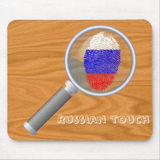 Bandera rusa de la huella dactilar del tacto alfombrilla de ratón