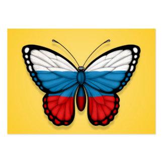 Bandera rusa de la mariposa en amarillo tarjetas de visita