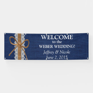 Bandera rústica del boda de la arpillera de los