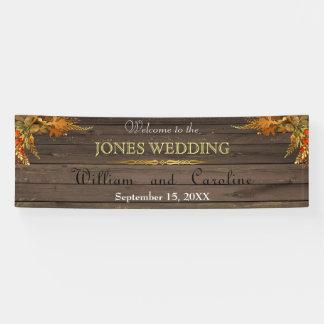 Bandera rústica del boda de madera y del oro