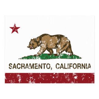 bandera Sacramento de California apenada Postal