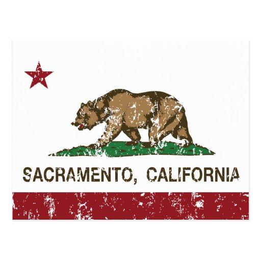 bandera Sacramento de California apenada Tarjetas Postales