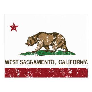 Bandera Sacramento del oeste del estado de Califor Tarjeta Postal