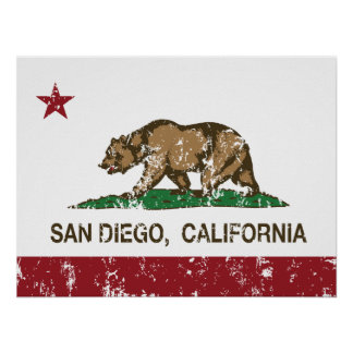 bandera San Diego de California apenada Póster