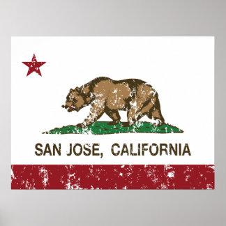 Bandera San Jose del estado de la república de Cal Posters