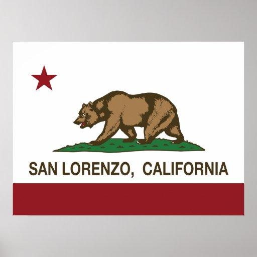 Bandera San Lorenzo del estado de California Poster