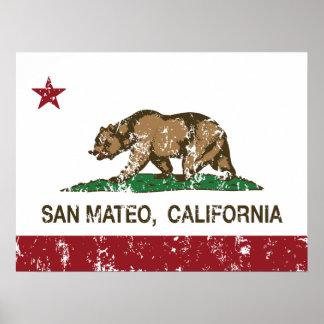Bandera San Mateo del estado de California Poster