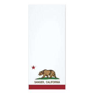 Bandera Sanger del estado de California Invitación 10,1 X 23,5 Cm