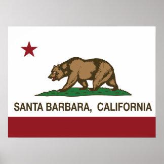 Bandera Santa Barbara del estado de California Poster