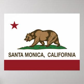 Bandera Santa Mónica del estado de California Poster