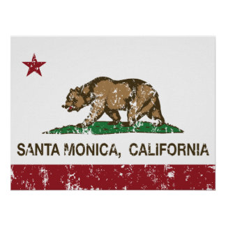 Bandera Santa Mónica del estado de California Posters