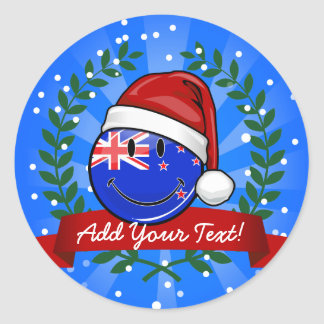Bandera sonriente del estilo de Nueva Zelanda del Pegatina Redonda