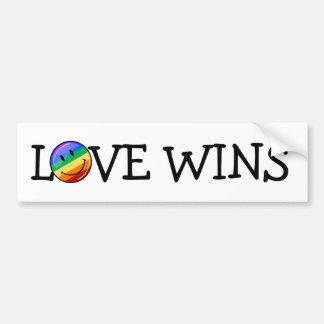 Bandera sonriente del orgullo gay de la ronda pegatina para coche