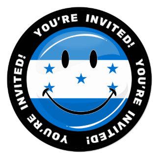 Bandera sonriente redonda brillante del Honduran Invitación 13,3 Cm X 13,3cm