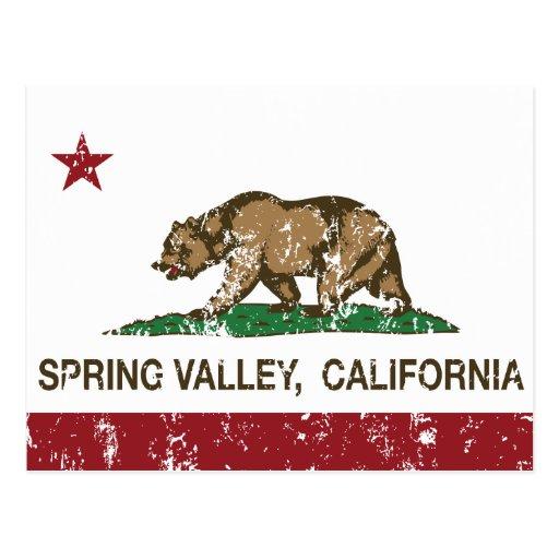 Bandera Spring Valley del estado de California Tarjetas Postales