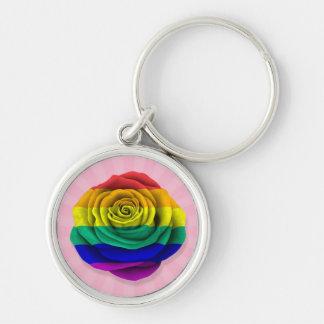 Bandera subió del orgullo gay del arco iris en ros llaveros personalizados