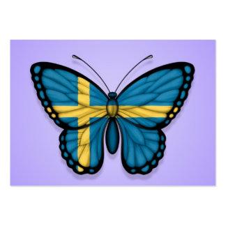 Bandera sueca de la mariposa en púrpura tarjetas de visita