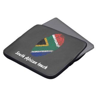Bandera surafricana de la huella dactilar del funda para ordenador