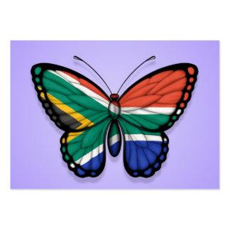 Bandera surafricana de la mariposa en púrpura tarjeta personal