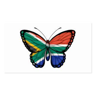 Bandera surafricana de la mariposa plantilla de tarjeta personal