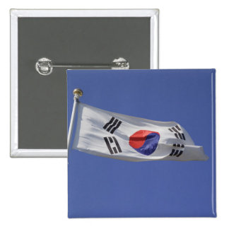 Bandera surcoreana chapa cuadrada