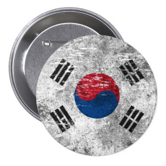 Bandera surcoreana rascada y llevada chapa redonda de 7 cm