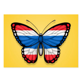 Bandera tailandesa de la mariposa en amarillo tarjeta de negocio