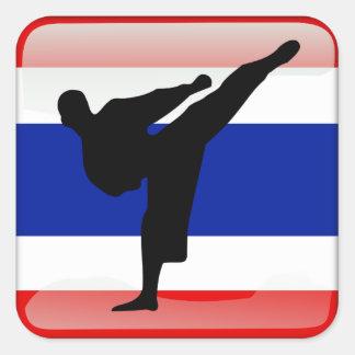Bandera tailandesa pegatina cuadrada