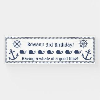 Bandera temática náutica del cumpleaños lona