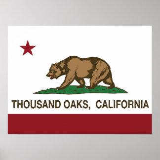 Bandera Thousand Oaks del estado de California Impresiones