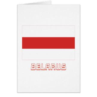 Bandera tradicional de Bielorrusia con nombre Tarjeta De Felicitación