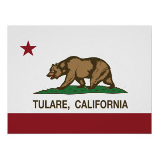 Bandera Tulare del estado de California Póster