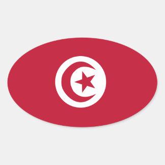 Bandera tunecina pegatina ovalada