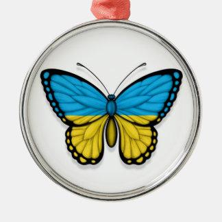 Bandera ucraniana de la mariposa adornos de navidad