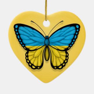 Bandera ucraniana de la mariposa en amarillo adornos