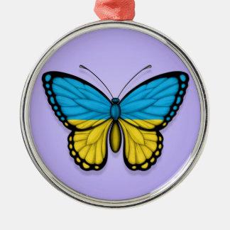 Bandera ucraniana de la mariposa en púrpura adorno de reyes