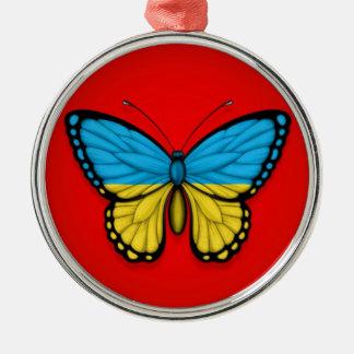 Bandera ucraniana de la mariposa en rojo ornamentos para reyes magos