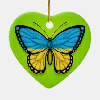 Bandera ucraniana de la mariposa en verde ornamento de reyes magos