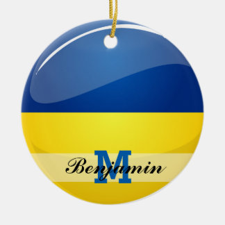 Bandera ucraniana redonda brillante adorno redondo de cerámica